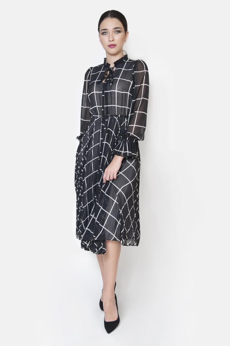 Sukienka plisowana krata