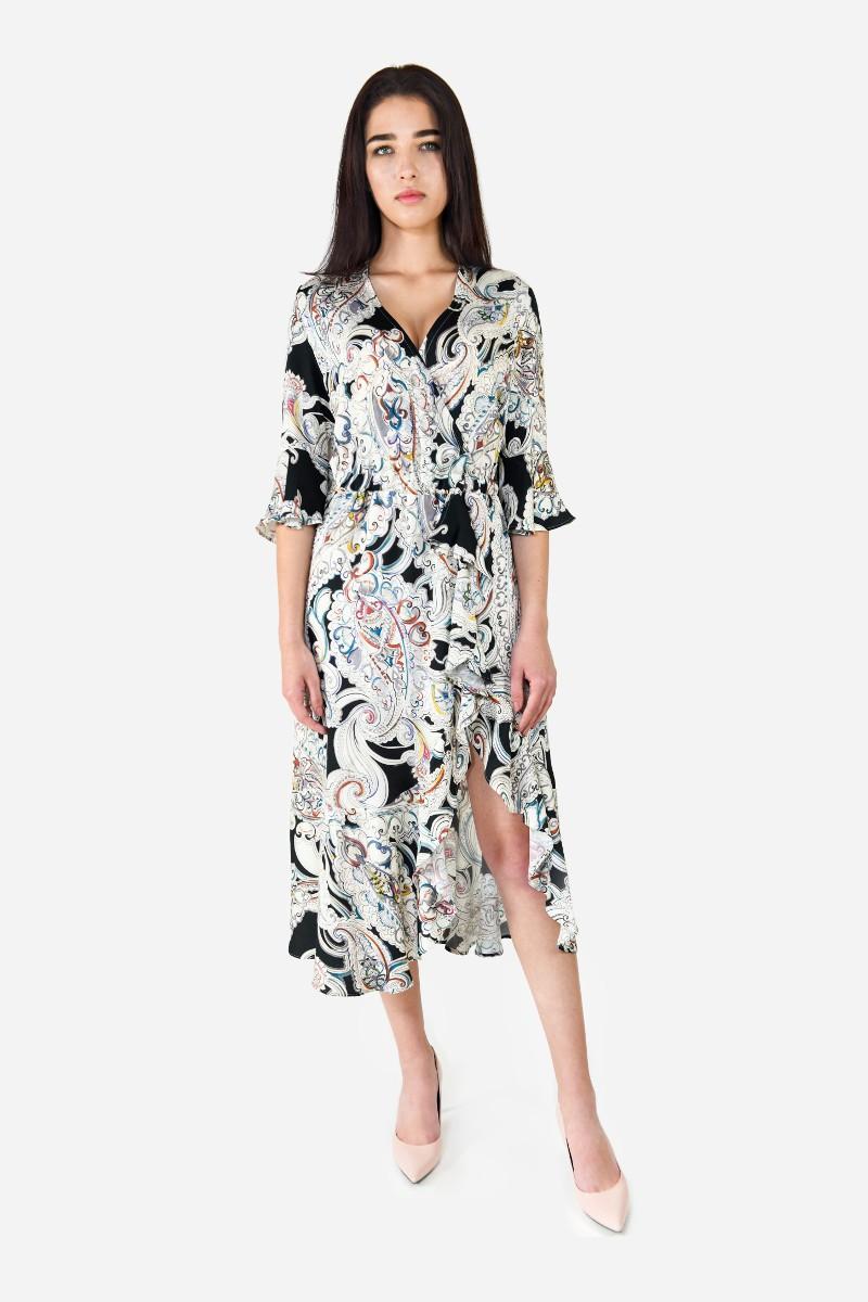 Sukienka wiskoza z jedwabiem wzór