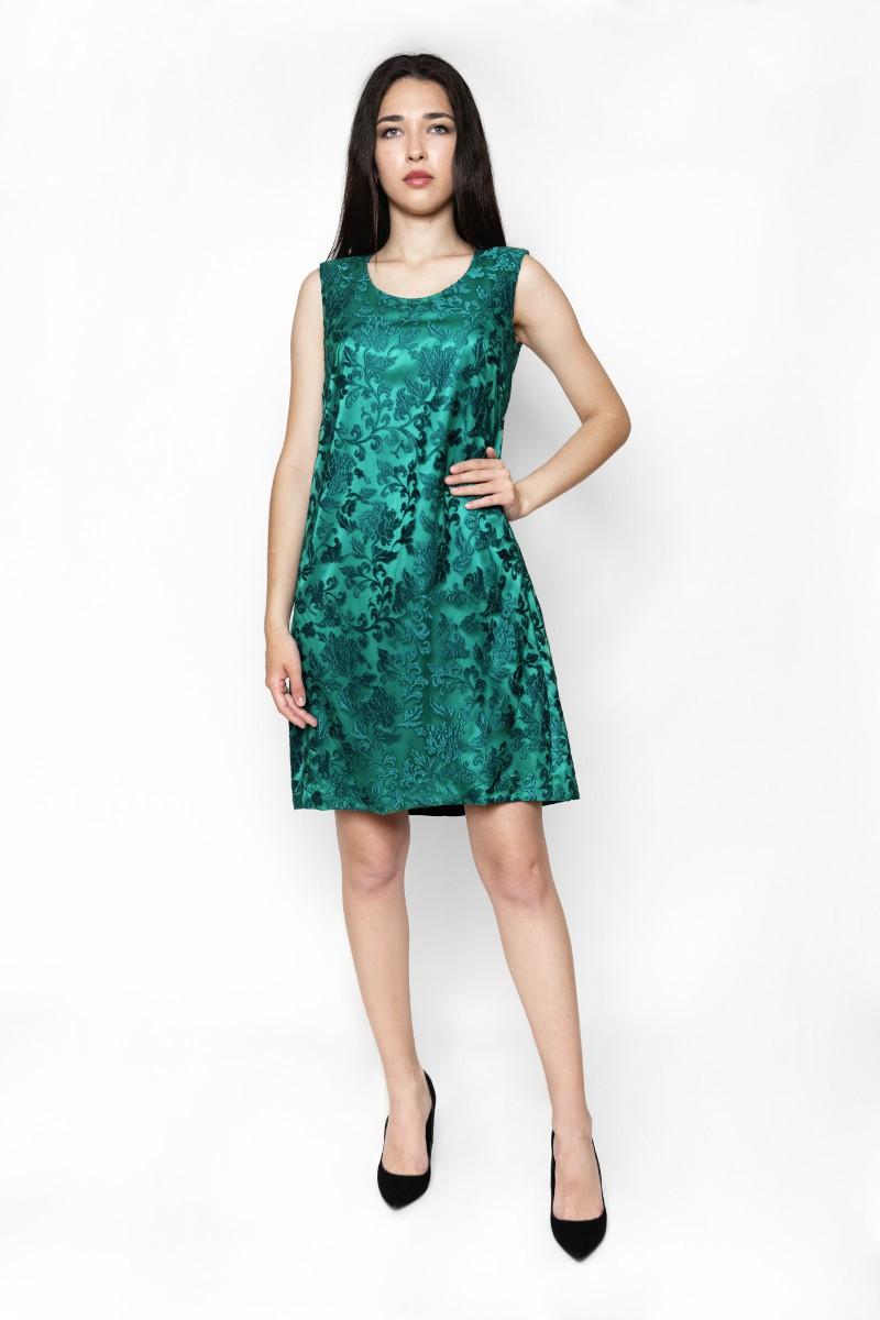 Sukienka z zielonej gipióry z kontrafałdą